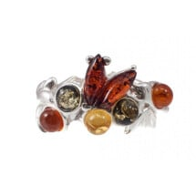 "-Silver amber ring ""Rainbow""-21"