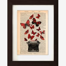 -Butterflies and Typewriter on 1890s French English Dictionary Page-21