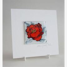 -GlasBild Rote Rose 15x15 white-21