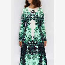 -green and white jersey dress with own fabric print ROXANI_26-21