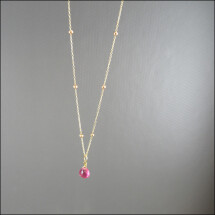 -Very delicate real ruby chain gold-plated 40-46 cm long-21