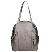 -Backpack silver metallic eco leather-21