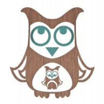 -Mobile owl wood turquoise-20