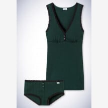 -Schiesser Revival Agathe Set Shirt and Micro Pants dark green-21