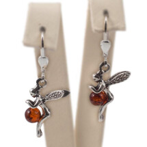 "-Silver earrings with amber ""Fairy Secrets""-21"