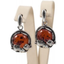 -Silver earrings with cognac amber-22