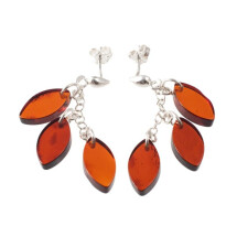 "-Silver amber earrings ""Lightness""-21"
