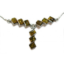 -Silver necklace with stylized amber pieces of greenish tones-21