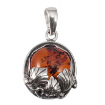 -Silver pendant with cognac amber-21