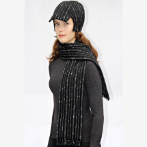 -black striped fringed scarf SOLO_055-21
