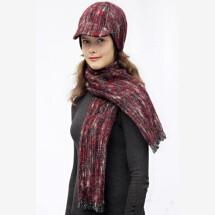 -Burgundy fringed scarf SOLO_190-21