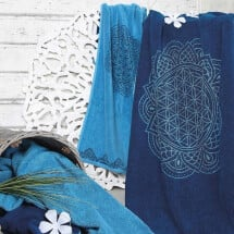 -Happy Flower of Life towel in ocean blue-21