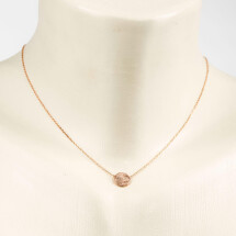 -Short necklace with discs motif flat frosted rose gold plated-20