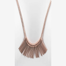 -Long necklace with needles pendant rose gold plated-20