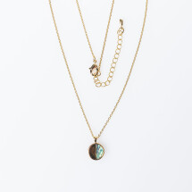 -Fine gold-plated short chain half moon with Paua Shell ST 181-21