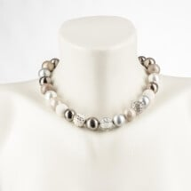 -Short pearl necklace New Bowls gray made of a fine material mix-20