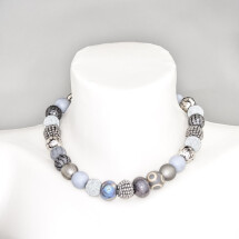 -Short pearl necklace New Bowls Anthracite made of a fine material mix-20