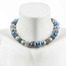 -Short pearl necklace New Bowls Flintstone made of a fine material mix-20