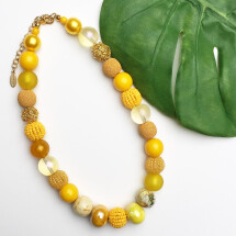 -Short pearl necklace New Bowls Sun from a fine material mix-20