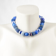 -Short pearl necklace New Bowls Dark blue made of a fine material mix-20