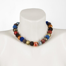 -Short Pearl Necklace New Bowls Colorful autumn mix made of a fine mix of materials-20