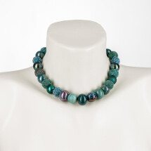 -Short pearl necklace New Bowls Colonial Blue made of a fine material mix-20