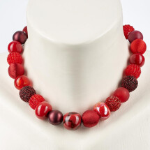 -Short pearl necklace New Bowls Bordeaux made of a fine material mix-20