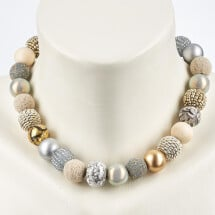 -Short pearl necklace New Bowls Granite made of a fine material mix-20