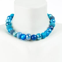 -Short pearl necklace New Bowls Capriblau made of a fine material mix-20