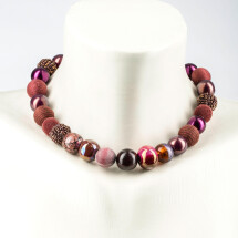 -Short pearl necklace New Bowls Burgundy made of a fine material mix-20