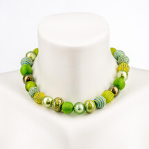 -Short pearl necklace New Bowls Greenery made of a fine material mix-20