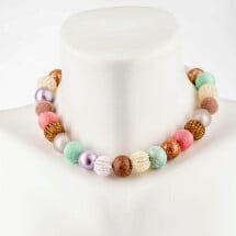 -Short Pearl Necklace New Bowls Fusion made of a fine material mix-20