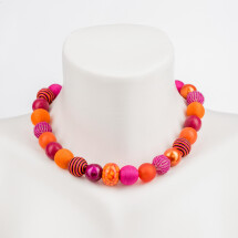 -Short pearl necklace New Bowls pink-orange stripes made of a fine material mix-20