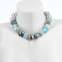 -Short pearl necklace Bollywood Ice Age made of a fine material mix-20