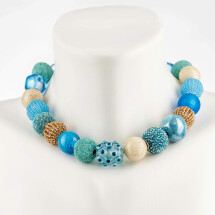 -Short pearl necklace Bollywood Carribbean Beach made of a fine material mix-20