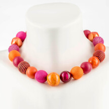 -Short pearl necklace Bollywood stripes pink-orange made of a fine material mix-20