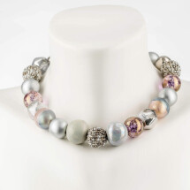 -Short pearl necklace Bollywood Space-Art made of a fine material mix-20