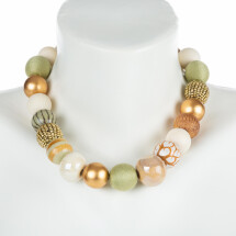 -Short pearl necklace Bollywood Light Golden Nature made of noble material mix-21