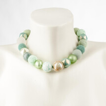 -Short pearl necklace Bollywood Mint made of a fine material mix-20