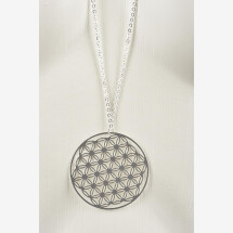 -Long necklace with flower of life motive silver plated-21
