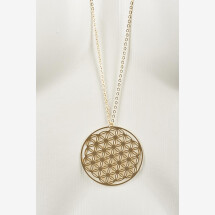-Long necklace with flower of life motif gold plated-20