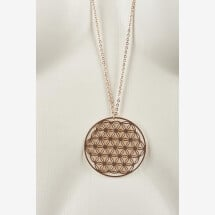 -Long necklace with flower of life motive rose gold plated-20