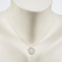 -Short necklace with tree motif silvered-20