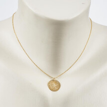 -Short necklace with tree motif gold plated-20