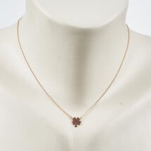 -Short necklace with clover motif rose gold plated-20