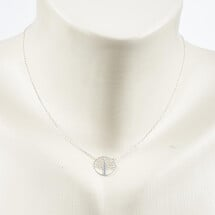 -Short necklace with life tree motive silver plated-20