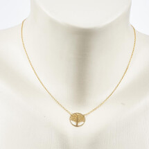 -Short necklace with life tree motive gold plated-20