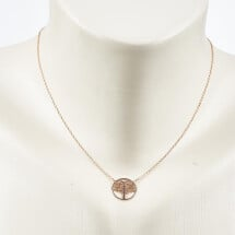 -Short necklace with life tree motif rose gold plated-20