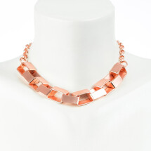 -Short Charm Chain Box Chain with large boxy links 42cm rose gold plated-20