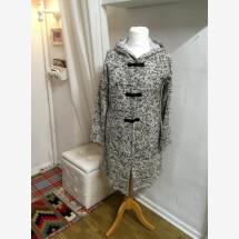 -Knit coat white-black mottled size L-21